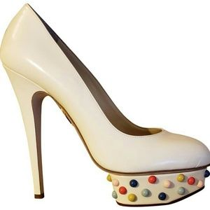Charlotte Olympia Off White Dolly Studs Pumps